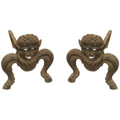 Pair of Turn of the Century American Mythological Andirons
