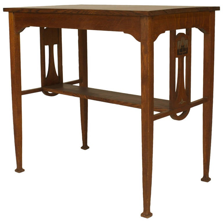 Small English Arts Crafts Pewter Inlaid Oak Desk For