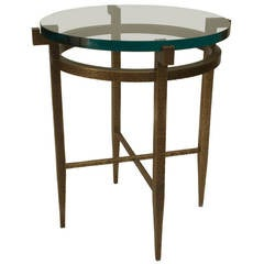 Contemporary Textured Bronze Side Table by Carole Gratale