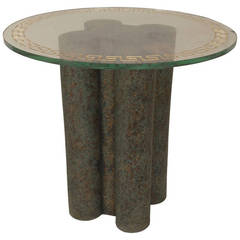 1970's American Marbleized Terra Cotta End Table