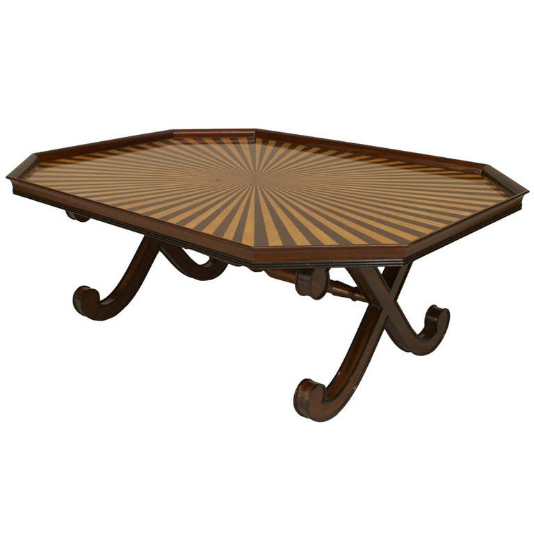 20th c. English Regency Style Sunburst Tray Top Table For Sale