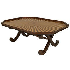 20th c. English Regency Style Sunburst Tray Top Table