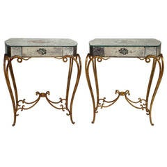 Pair of 1940's French Mirrored End Tables Attr. to Rene Drouet and Adrien Ekman