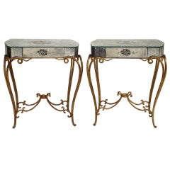 Pair of 1940's French Mirrored End Tables