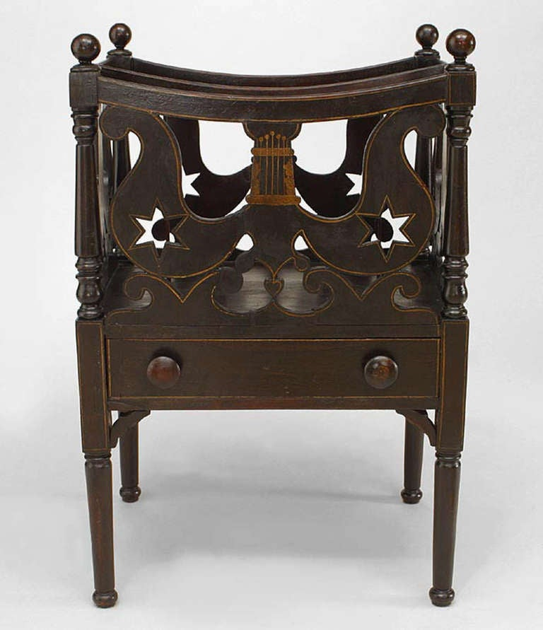 American Empire Furniture Description: 19th C. American Empire Carved Canterbury Or Magazine Rack