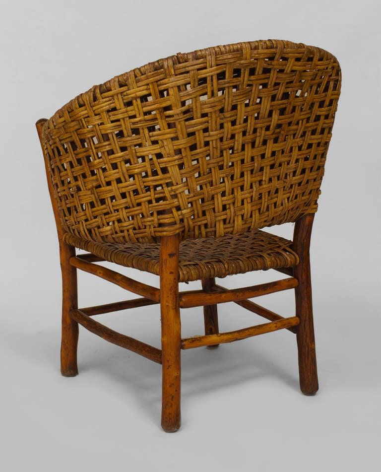 Large Old Hickory Barrel Back Armchair For Sale At 1stdibs