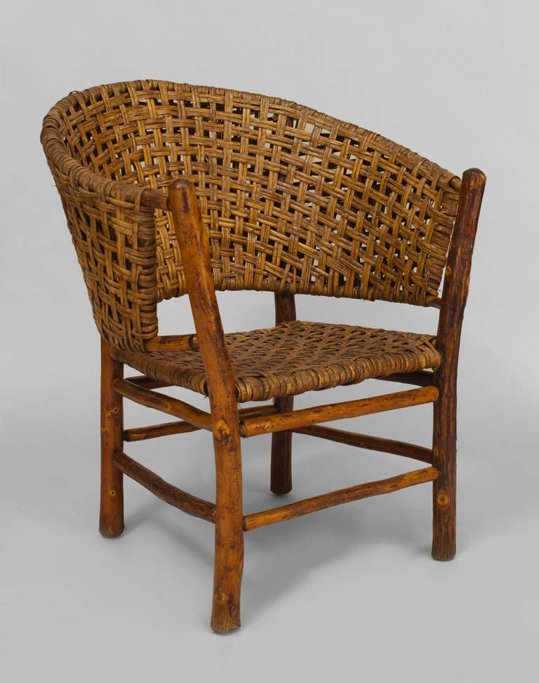 Large old hickory barrel back armchair for sale at 1stdibs for Oversized armchairs for sale