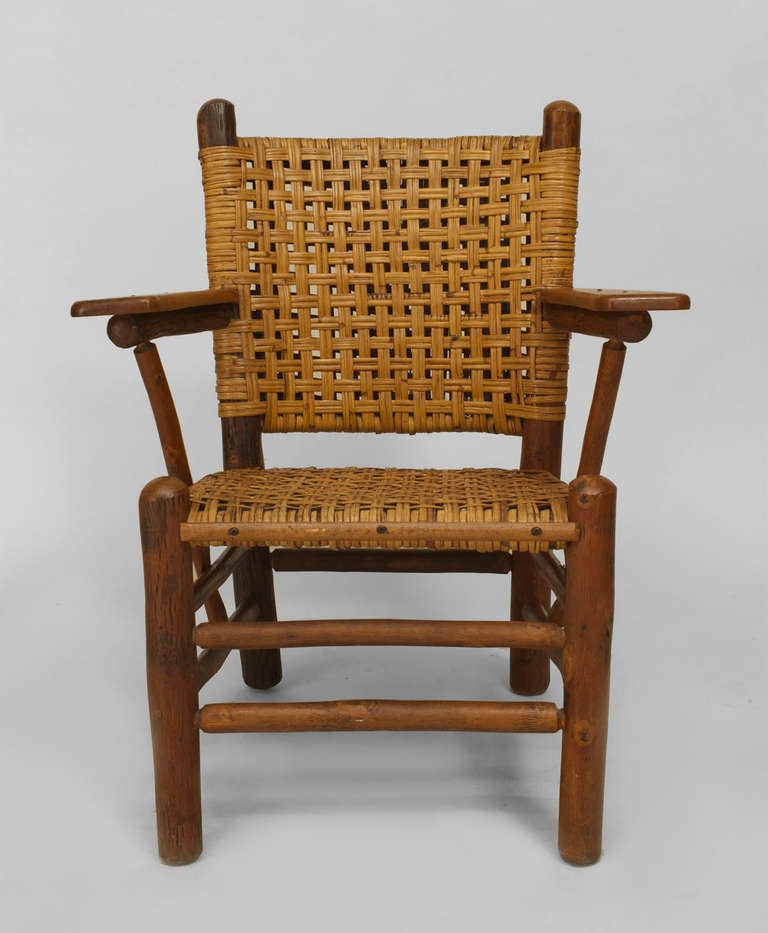 Old Hickory Woven Armchair With Paddle Armrests At 1stdibs