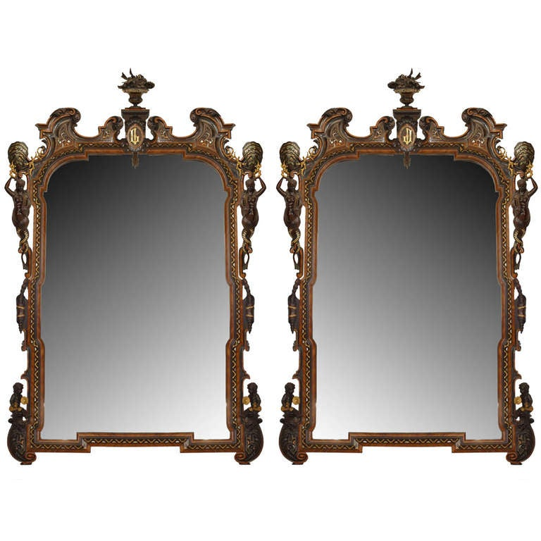 Pair of Large Spectacularly Carved 19th c. Italian Wall Mirrors