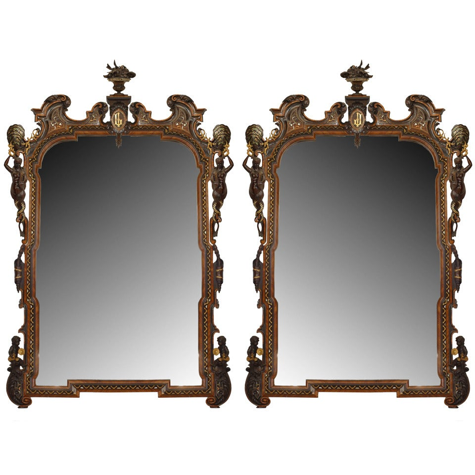 Pair of Carved 19th Century Italian Rococo Style Rosewood Wall Mirrors