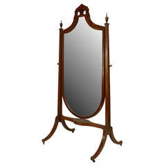 19th c. English Sheraton Decorated Cheval Mirror