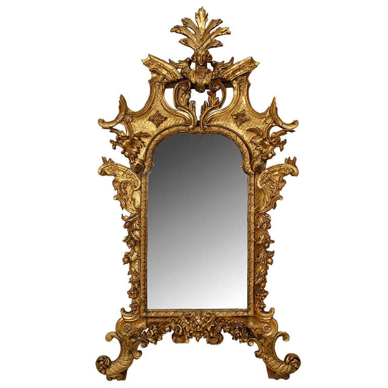 Mid-18th c. Florentine Carved Giltwood Wall Mirror