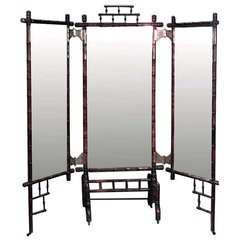 19th c. French Faux Bamboo Folding Cheval Mirror