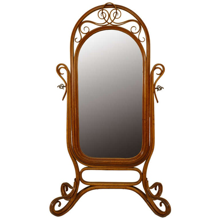 Turn of the Century Thonet Style Bentwood Cheval Mirror