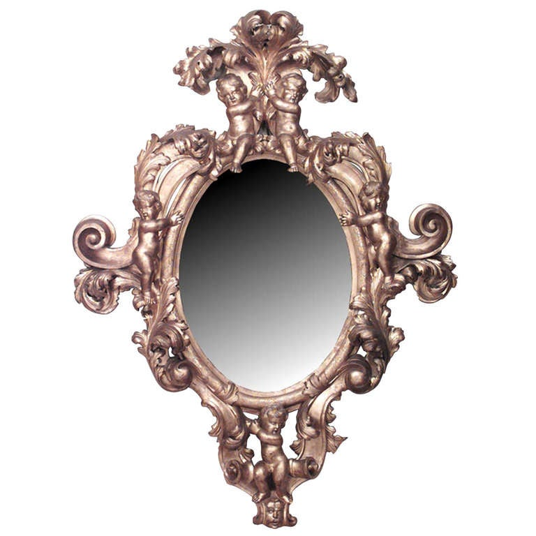 Monumental 19th c. French Gilt Carved Wall Mirror