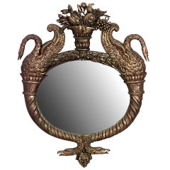French Empire Gilt Framed Oval Mirror