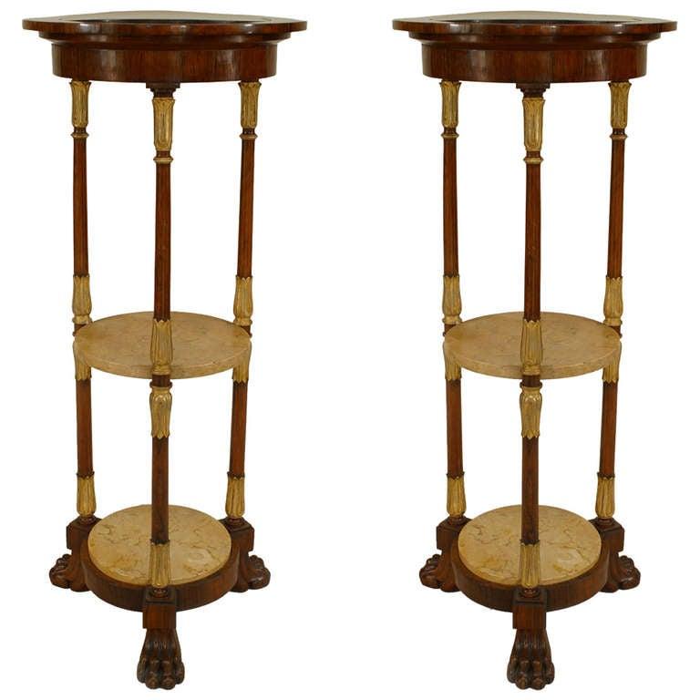 Pair of English Regency Gilt Trimmed Rosewood Pedestals