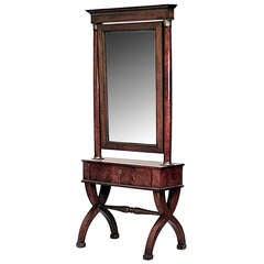 Austrian Biedermeier Cherrywood Cheval Mirror, c. 1835