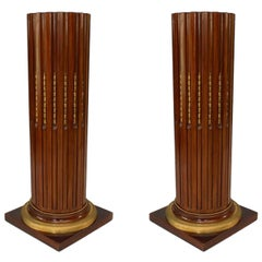 Pair of 19th c. French Louis XVI Style Bronze-Trimmed Pedestals
