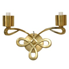 1940's French Art Deco Single Sconce, Attributed to Jules Leleu