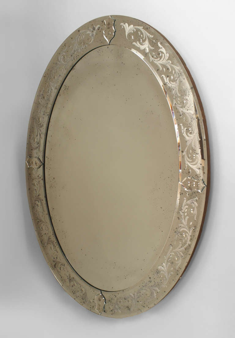 2 oval etched murano glass wall mirrors for sale at 1stdibs 2 oval etched murano glass wall mirrors 2 amipublicfo Choice Image