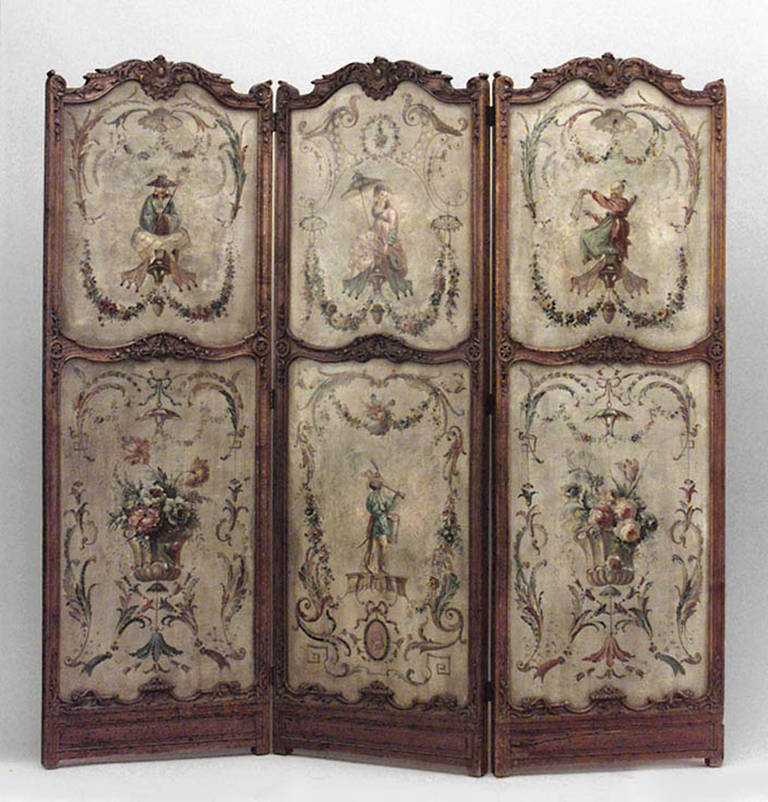 French Folding Screens : Th c french regence style painted folding screen for