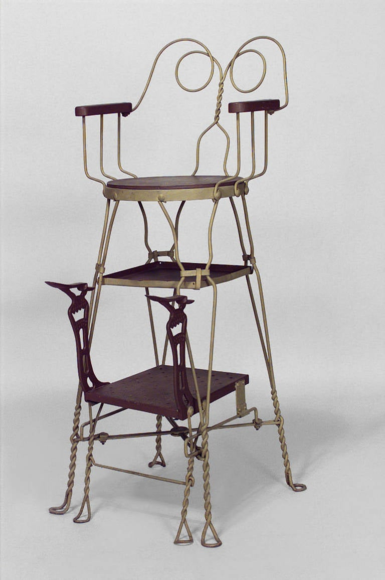 American Painted Wire Shoeshine Chair by Royal Products Chicago 3 - 19th C. American Painted Wire Shoeshine Chair By Royal Products