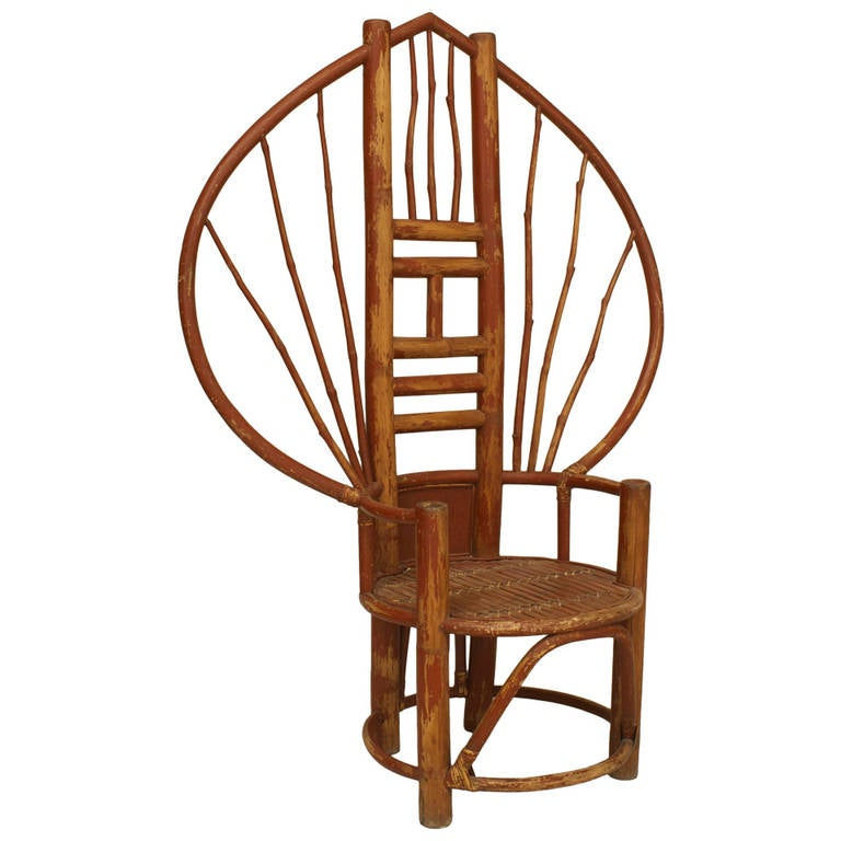 20th c. Asian Fan Back Bamboo Chair