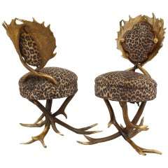 Pair of 19th c. Continental Horn and Antler Side Chairs