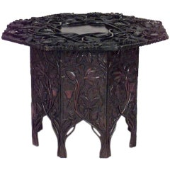 Asian Chinese Rosewood Floral Table