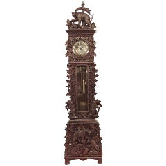 19th Century Rustic Black Forest Grandfather Clock