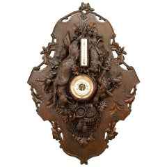 19th c. Black Forest Handcarved Thermometer Barometer