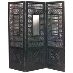 19th c. Middle Eastern Carved Teak Folding Screen