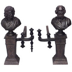Pair of Neo-Classic Homer and Virgil Andirons