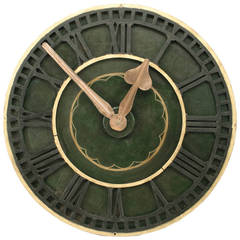 Large 19th c. English Green-Painted Clock Face
