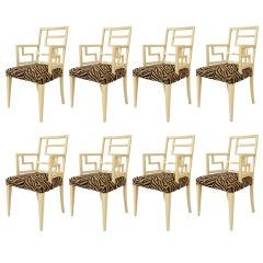8 English Mid-Century Geometric Armchairs with Animal Print Seats