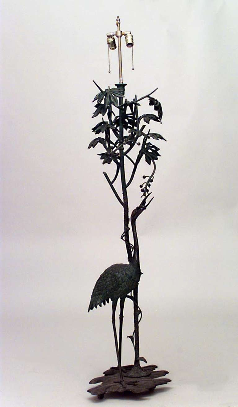 French Art Nouveau Tall Bronze Bird Floor Lamp For Sale At