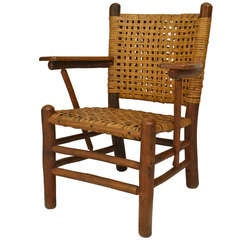 Old Hickory Woven Armchair with Paddle Armrests