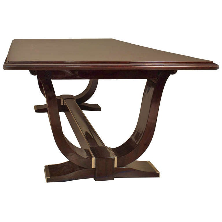 Monumental French Art Deco Nickel-Trimmed Rosewood Dining Table