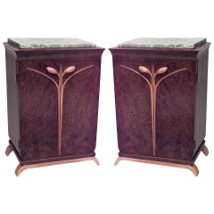 Pair of French Art Deco Marble Top Bedside Commodes
