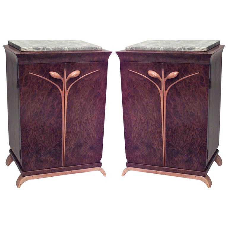 Pair of French Art Deco Marble Top Bedside Commodes For Sale