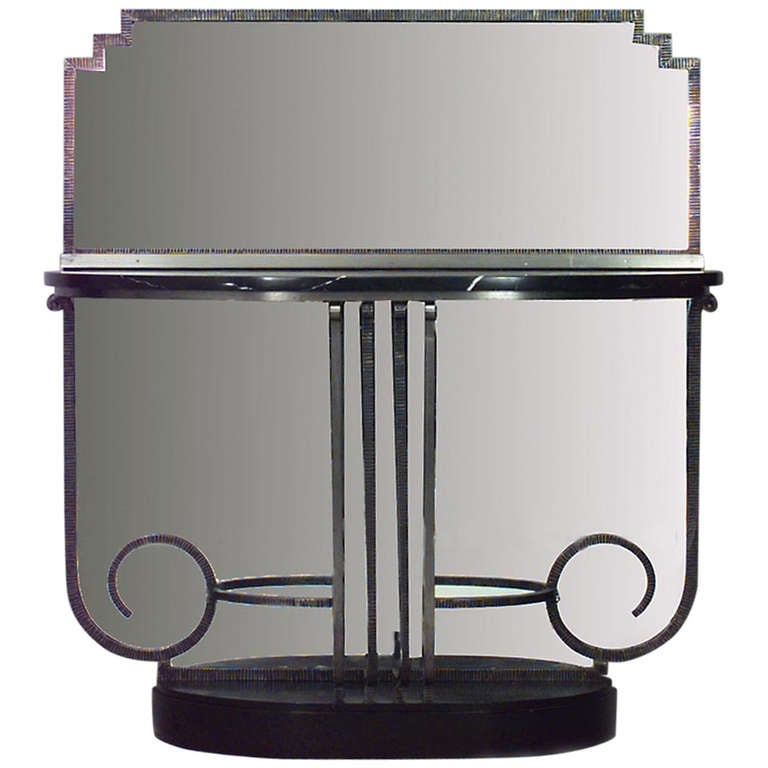 french art deco console table and attached mirror for sale at 1stdibs. Black Bedroom Furniture Sets. Home Design Ideas