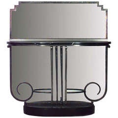 French Art Deco Console Table and Attached Mirror