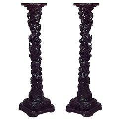 Pair of 19th c. Chinese Solomonic Pedestals