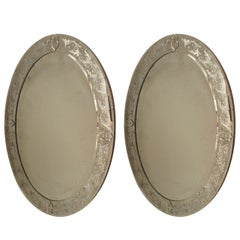 2 Oval Etched Murano Glass Wall Mirrors