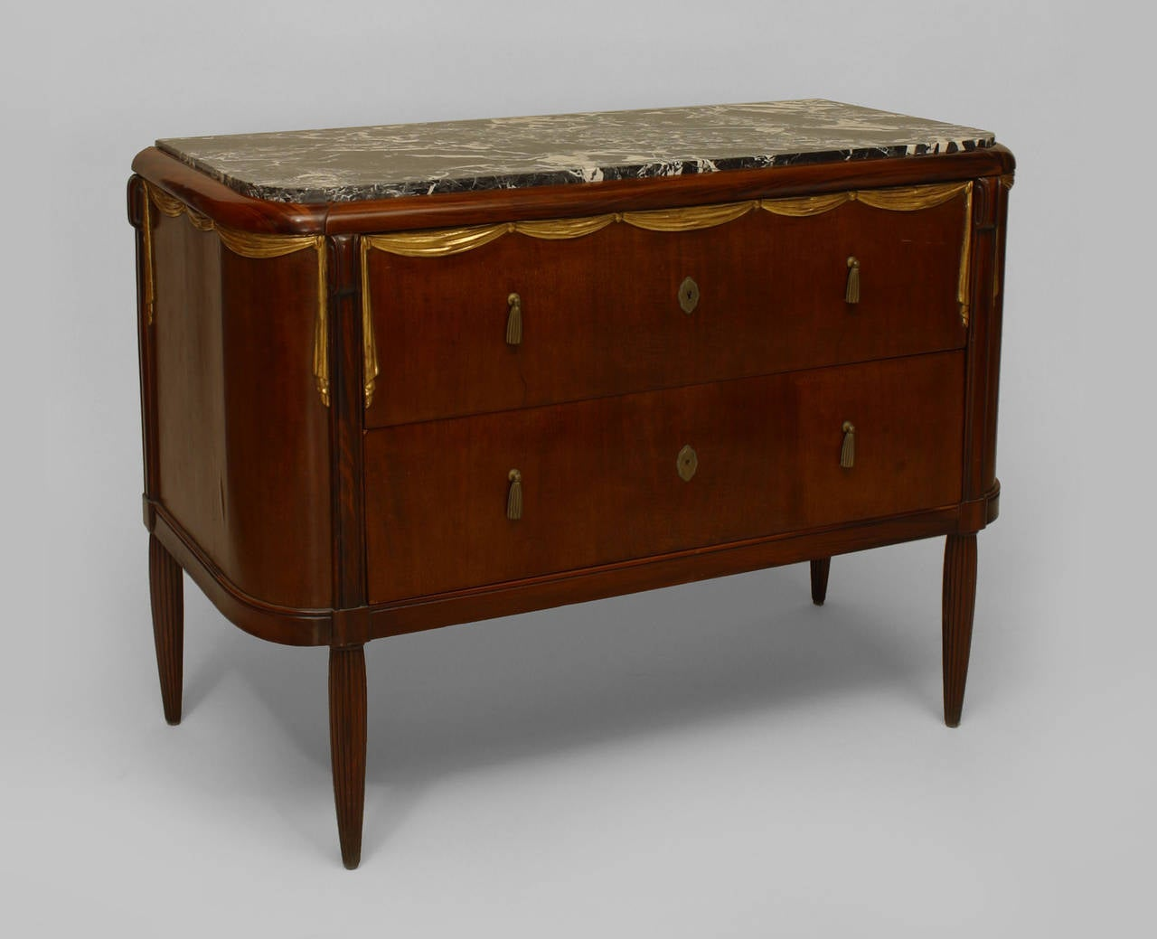 Art deco parcel gilt marble top commode attributed to for Commode miroir art deco