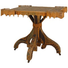 Fine 19th Century Continental Rustic Twig Game Table