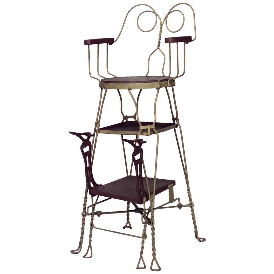American Painted Wire Shoeshine Chair by Royal Products Chicago 2 - 19th C. American Painted Wire Shoeshine Chair By Royal Products