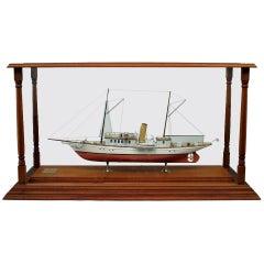Victorian Schooner Ship Model in Glass Case