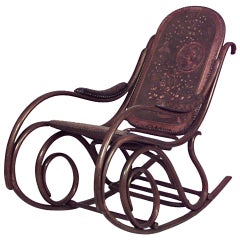 Austrian Bentwood Scroll Leather Rocking Chair